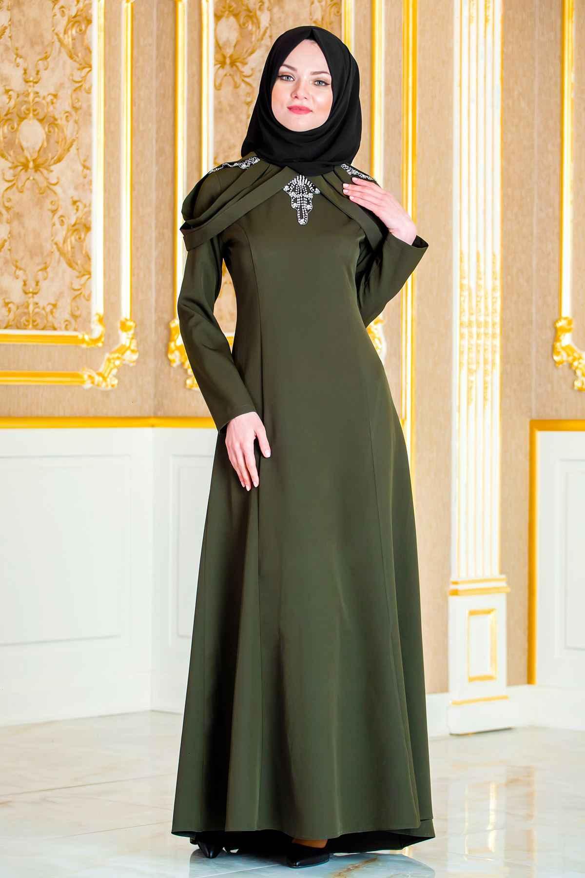 Sedanur Tesettür Haki Renk Abiye Elbise Modelleri