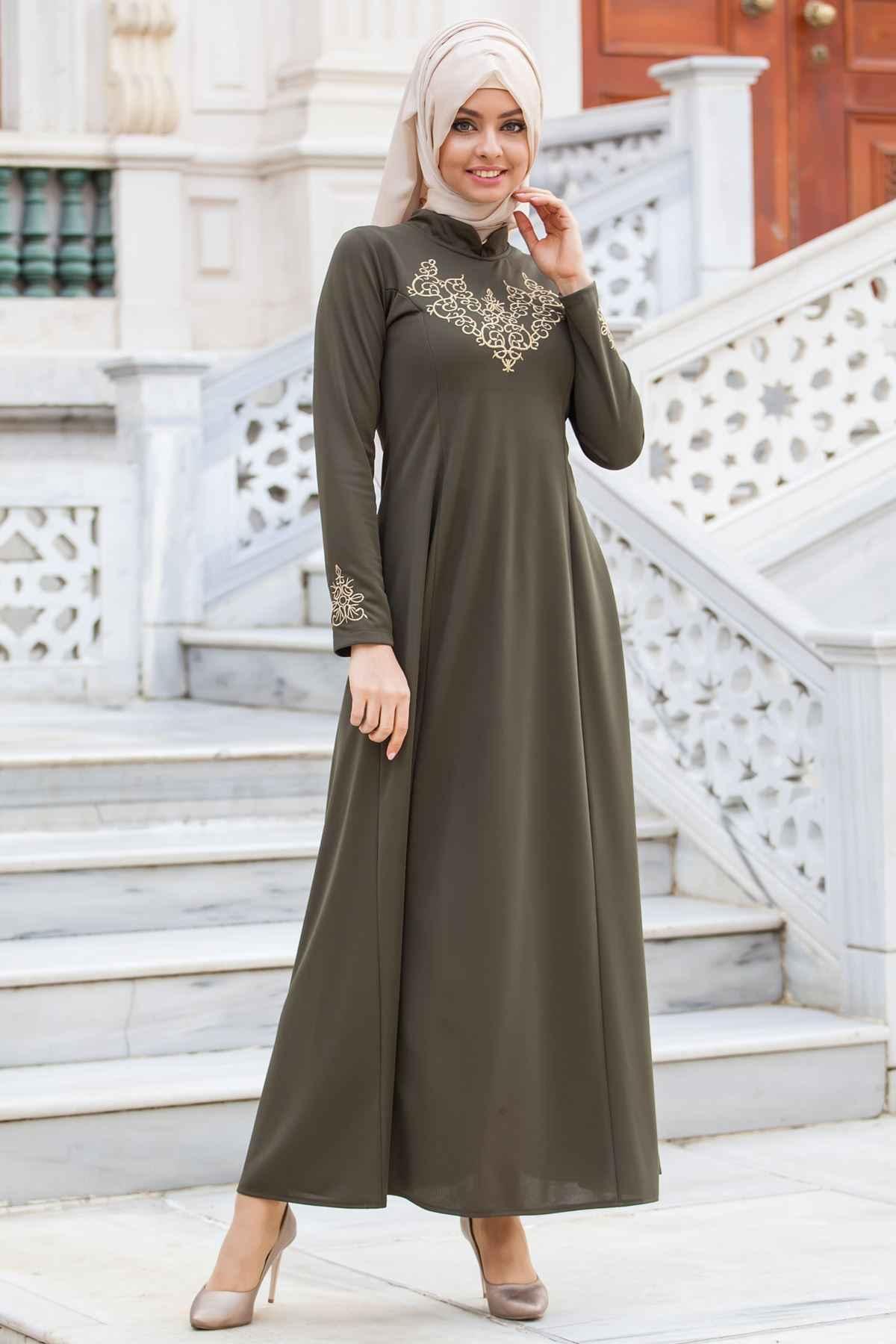 Sedanur Tesettür Haki Renk Elbise Modelleri