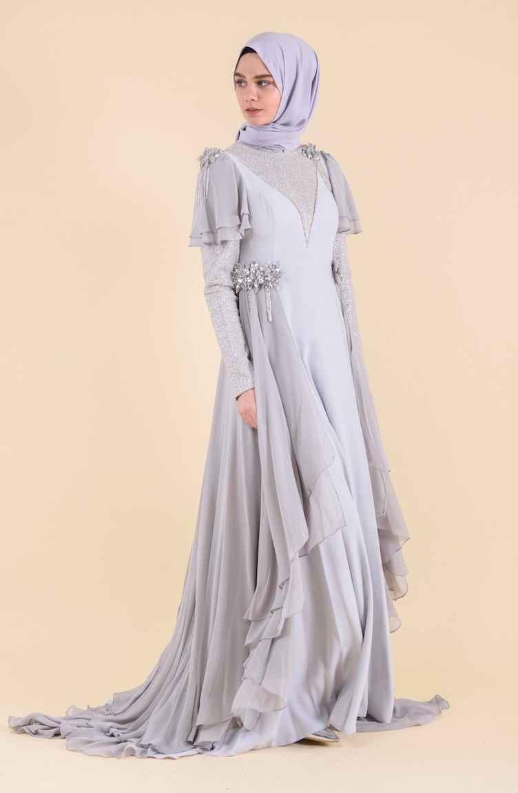 Sefamerve Çiçek Broşlu Tesettür Abiye Elbise Modelleri