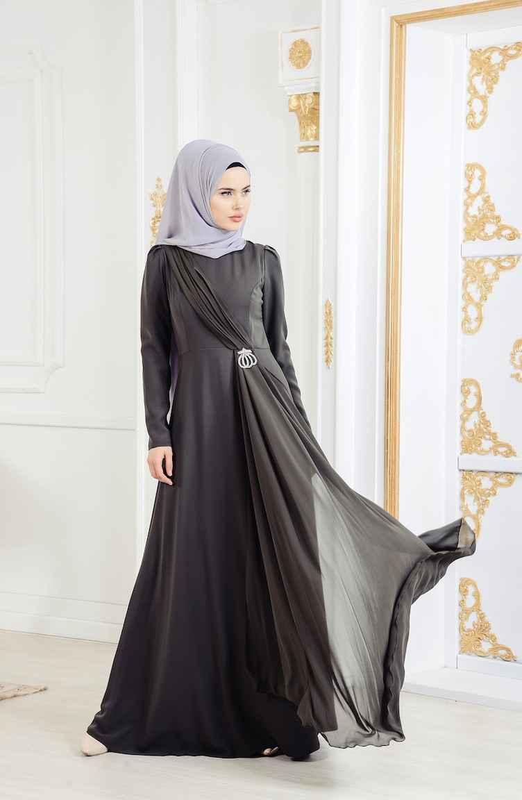 Sefamerve Broşlu Tüllü Tesettür Abiye Elbise Modelleri
