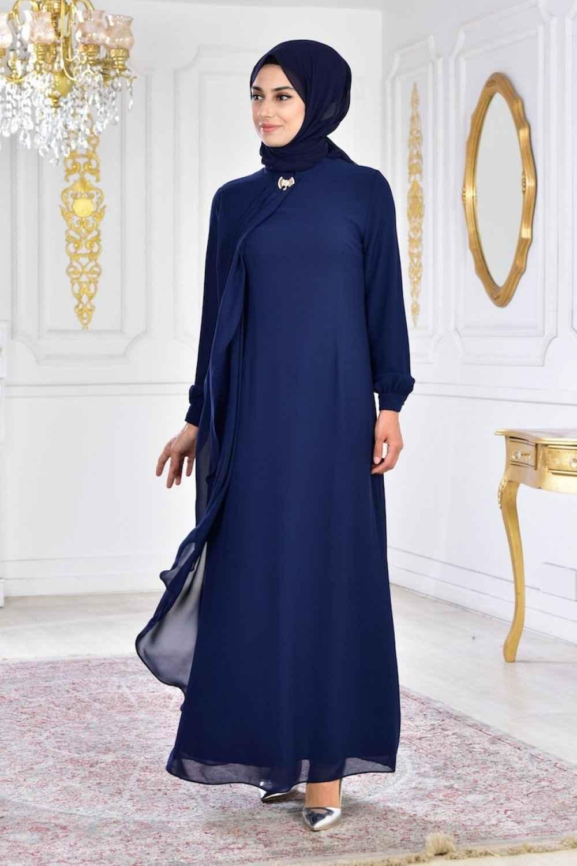 Sefamerve Broşlu Tesettür Abiye Elbise Modelleri