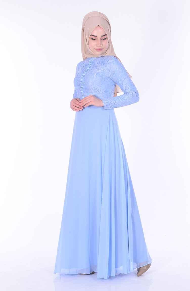Sefamerve Dantelli Tesettür Şifon Elbise Modelleri