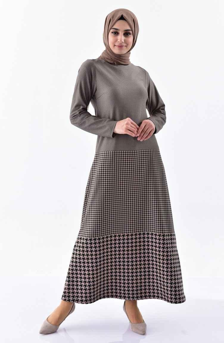 Sefamerve En Şık Tesettür Kazayağı Desenli Şık Elbise Modelleri