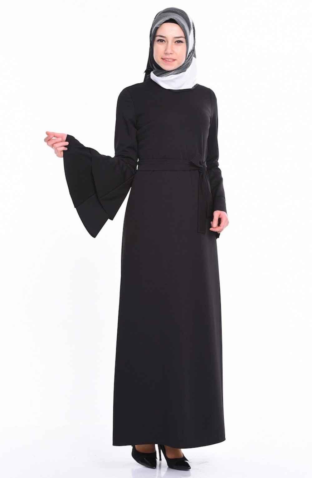 Sefamerve Geniş Kol Tesettür Kalem Elbise Modelleri
