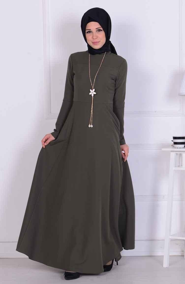 Sefamerve Kolyeli Tesettür Elbise Modelleri