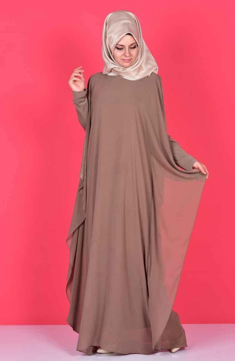 Sefamerve Taş Detaylı Tesettür Elbise Modelleri