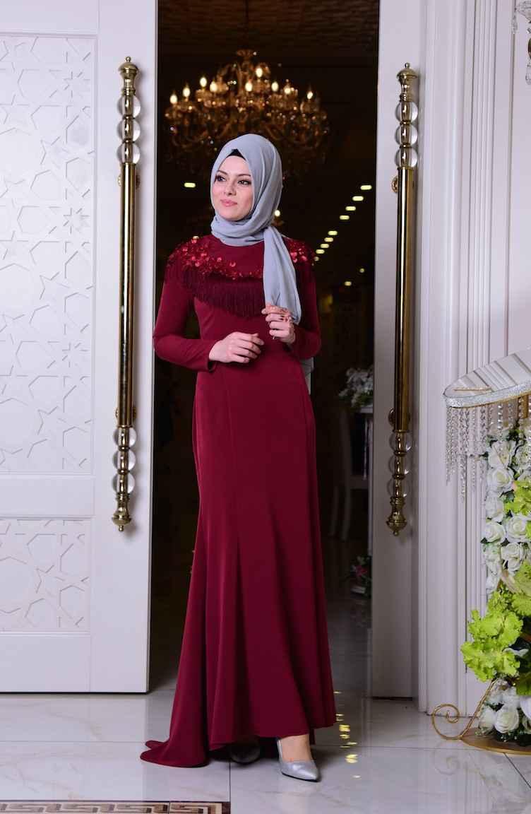 Sefamerve Tesettür Bordo Renk Abiye Elbise Modası