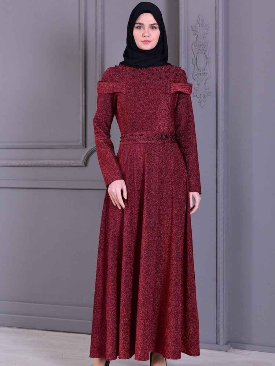 b3fa17194769e Sefamerve Tesettür Bordo Renk Abiye Elbise Modelleri - Moda Tesettür ...