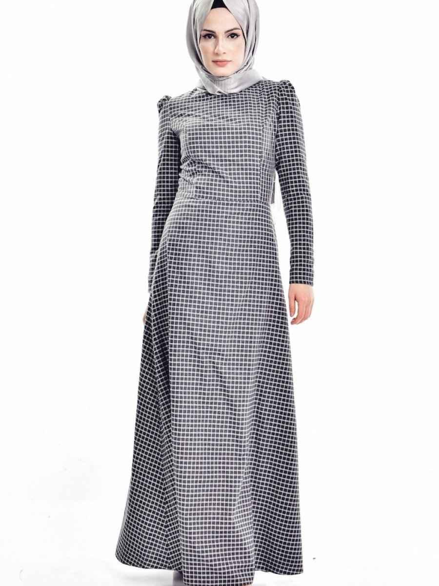 Sefamerve Tesettür Ekose Elbise Modelleri