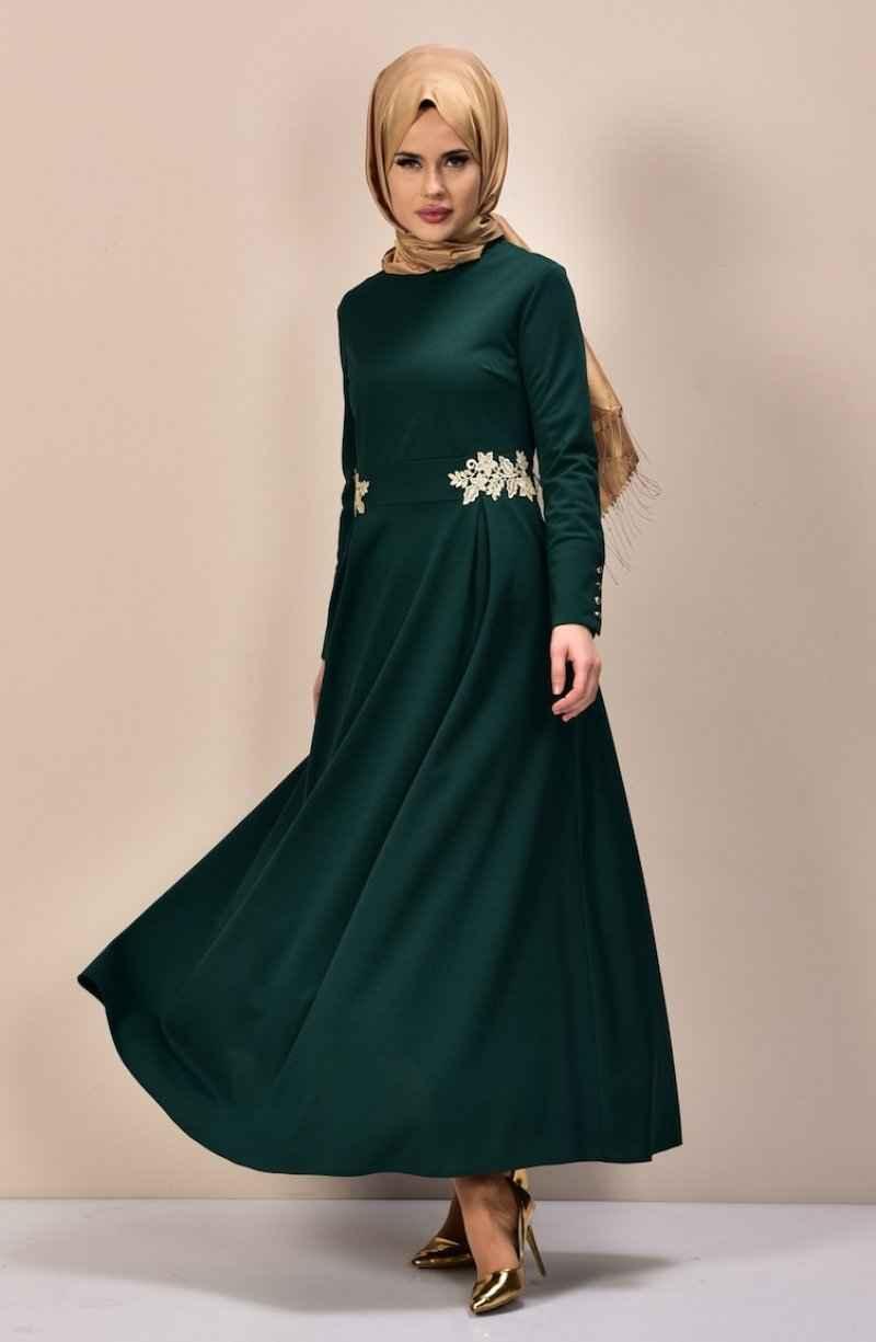 Sefamerve Tesettür Güpürlü Elbise Modelleri