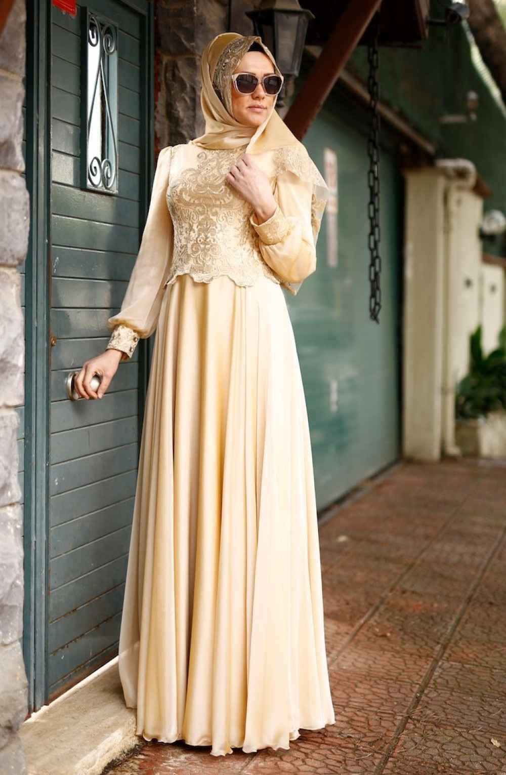 Sefamerve Tesettür Gold Dantelli Abiye Elbise Modelleri
