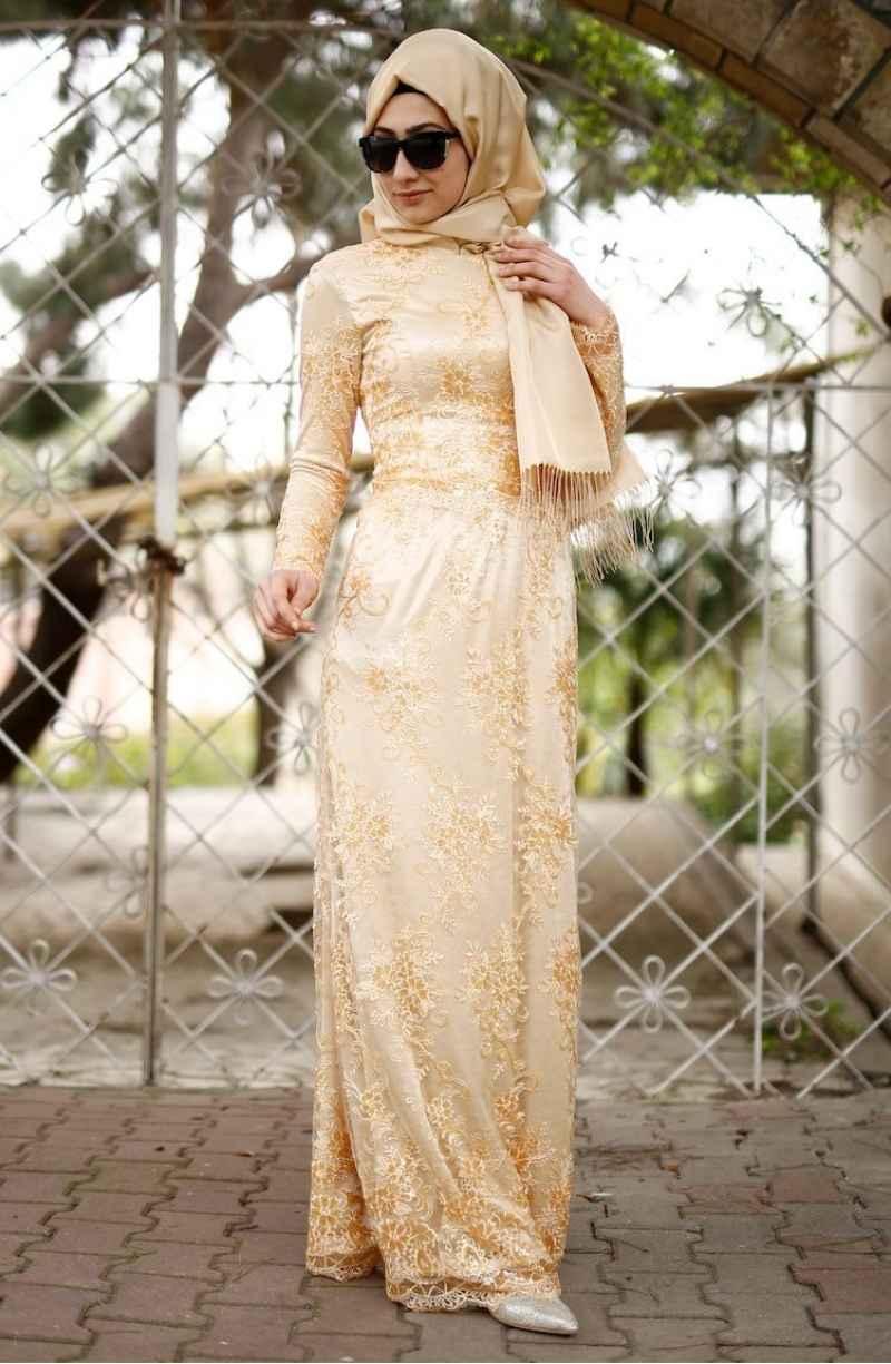 Sefamerve Tesettür Gold Dantelli Krem Abiye Elbise Modelleri