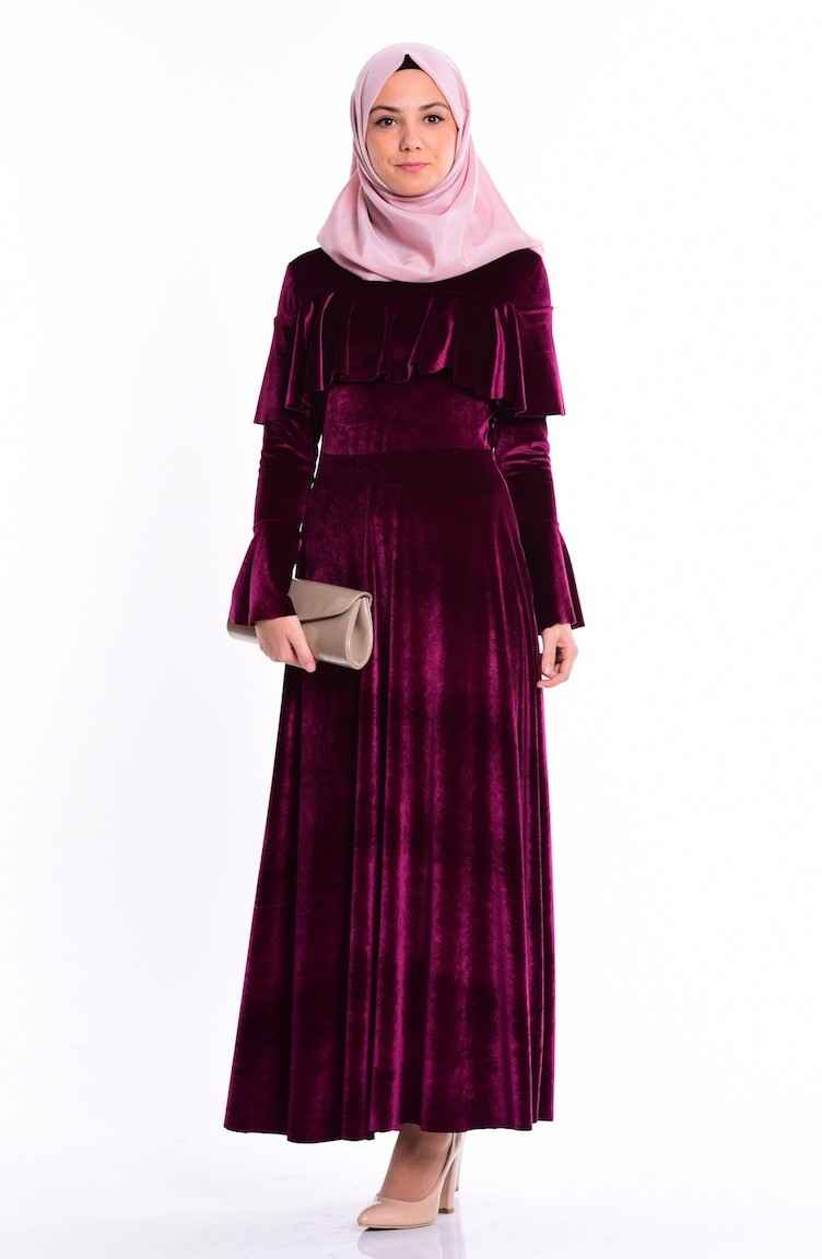 Sefamerve Tesettür Kadife Elbise Modelleri