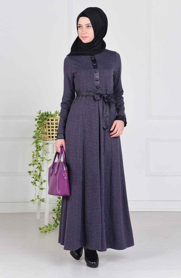 Sefamerve Tesettür Kazayağı Desenli Şık Elbise Modelleri