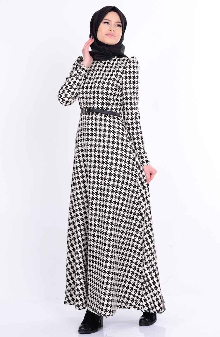 Sefamerve Tesettür Kazayağı Desenli Elbise Modelleri
