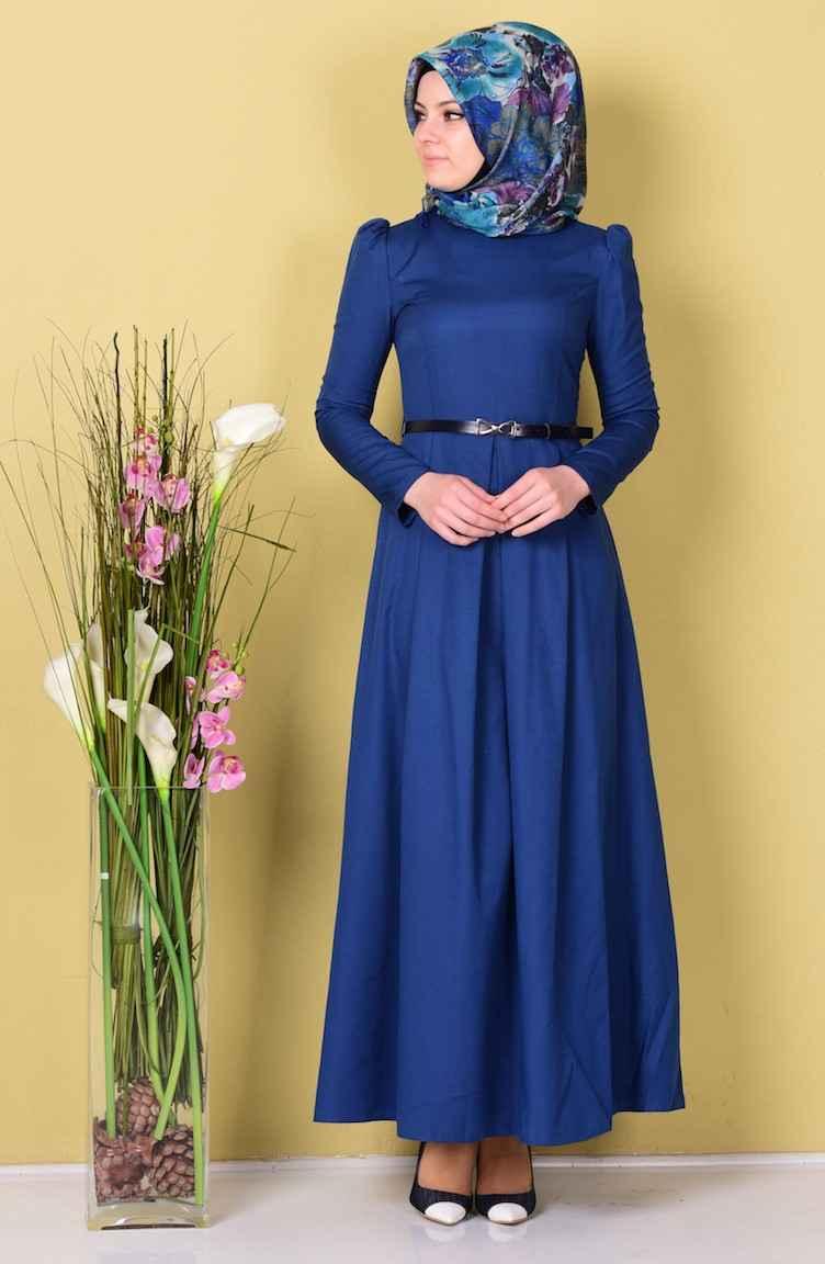 Sefamerve Tesettür Kemerli Elbise Modelleri