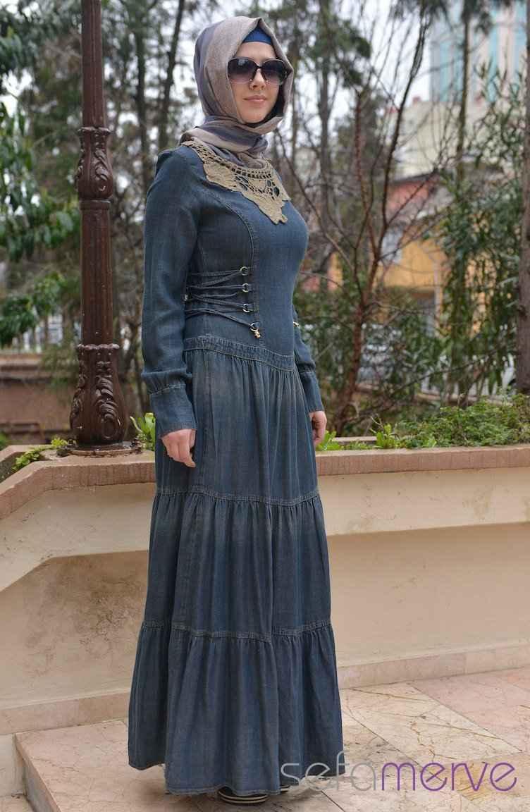 Sefamerve Tesettür Kot Elbise Modelleri