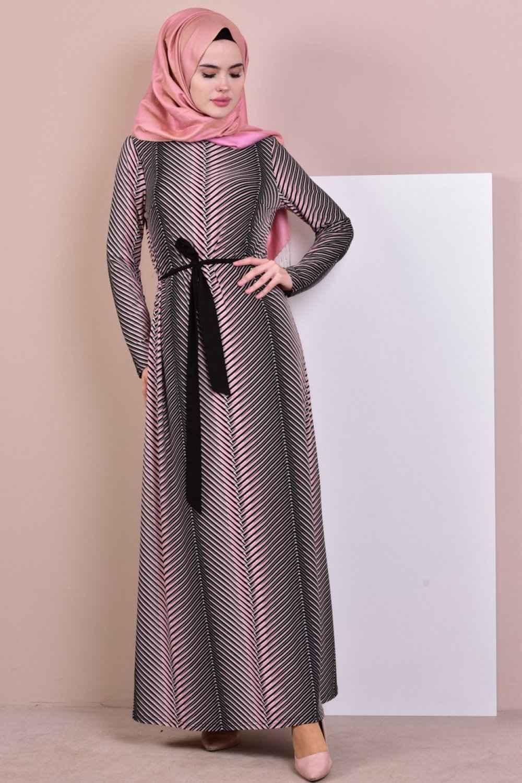 Sefamerve Tesettür Kuşaklı Elbise Modelleri
