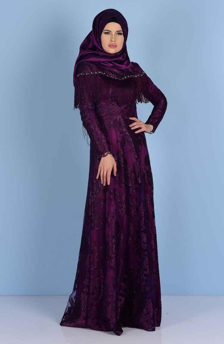 8204c06755520 Sefamerve Tesettür Püsküllü Abiye Elbise Modelleri - Moda Tesettür Giyim