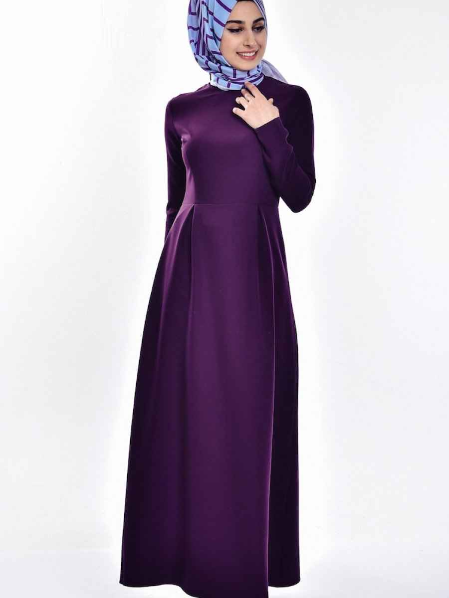 Sefamerve Tesettür Pileli Elbise Modelleri