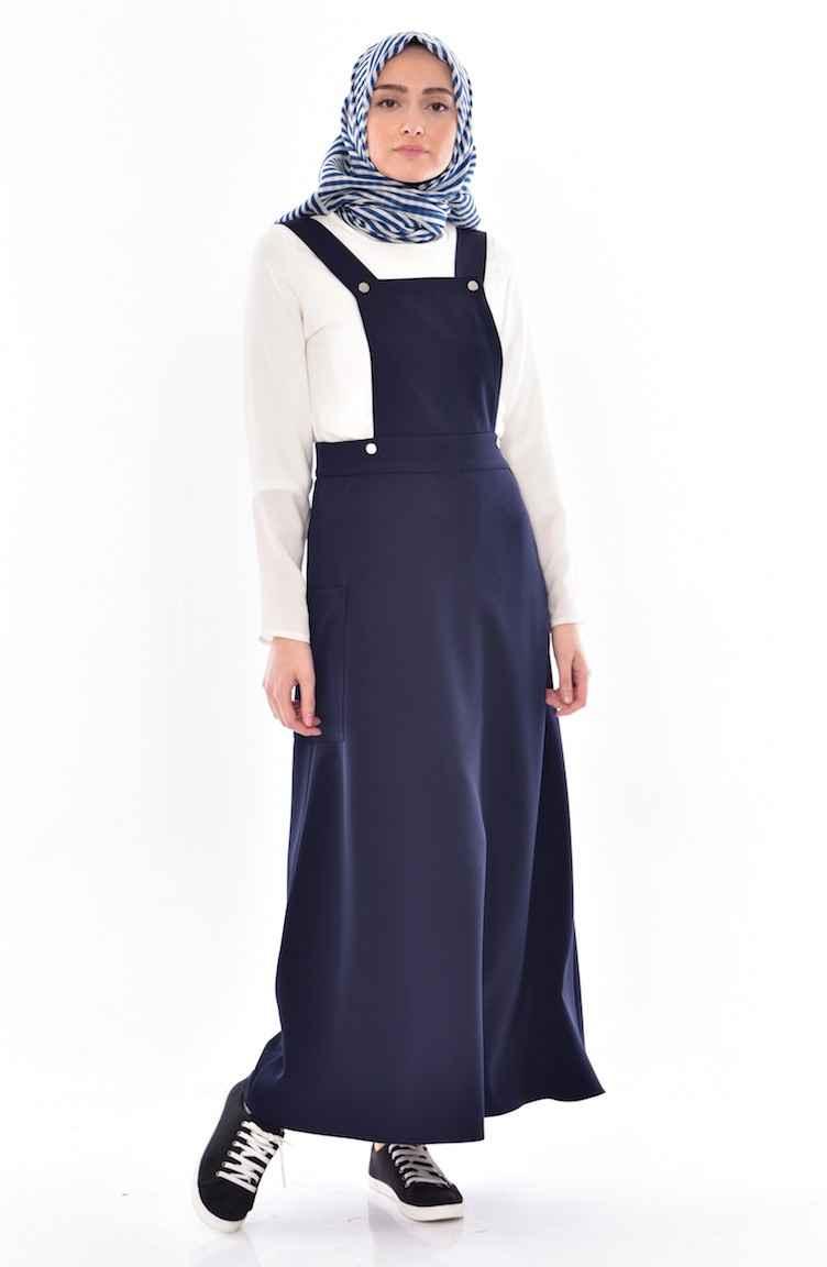 Sefamerve Tesettür Salopet Lacivert Elbise Modelleri