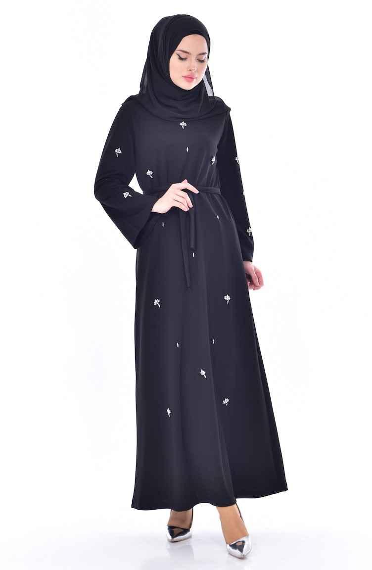Sefamerve Tesettür Taşlı Elbise Modelleri