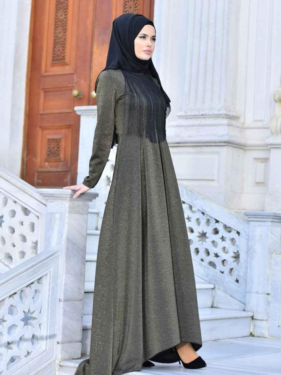 Sefamerve Tesettür Uzun Püsküllü Abiye Elbise Modelleri