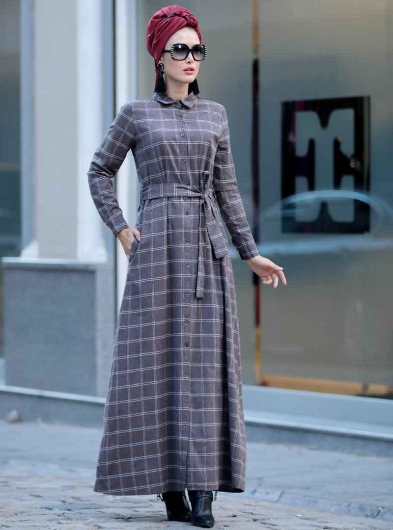 Selma Sarı Desnign Tesettür Ekose Elbise Modelleri
