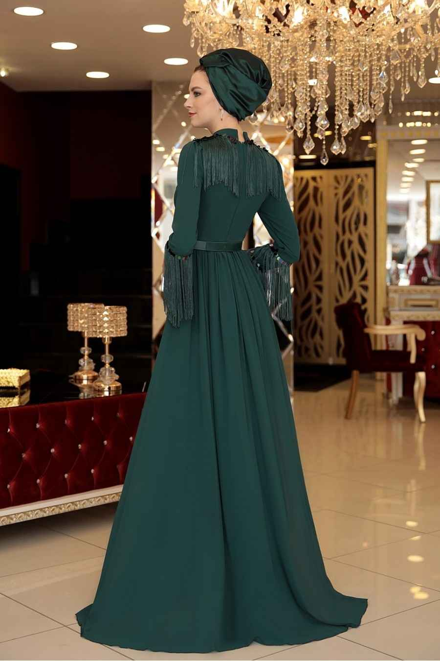 Selma Sarı Tesettür Püsküllü Abiye Elbise Modelleri