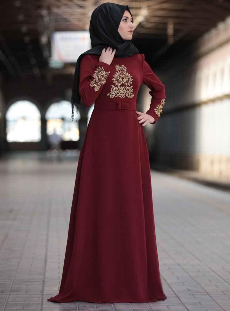 Sure Tesettür Bordo Renk Elbise Modelleri