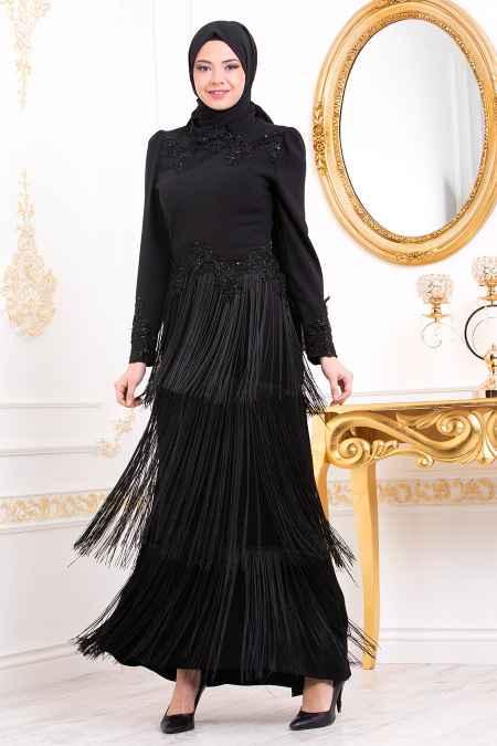 Tesettür İsland Etekleri Püsküllü Abiye Elbise Modelleri