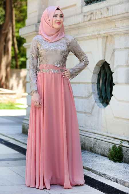 Tesettür İsland Gold Dantelli Abiye Elbise Modelleri