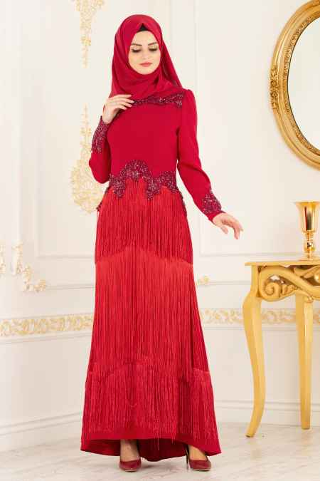 Tesettür İsland Püsküllü Abiye Elbise Modelleri