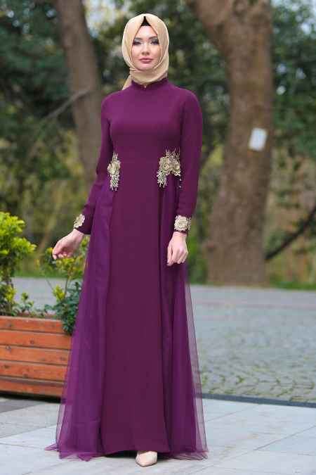 Tesettür İsland Tüllü Abiye Elbise Modelleri