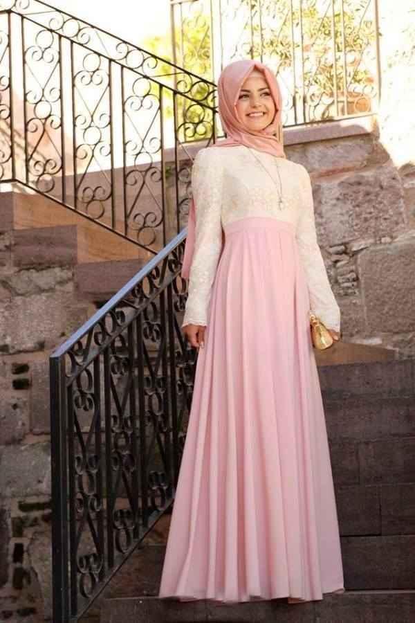 Tesettür Açık Renk Söz Elbisesi Modelleri