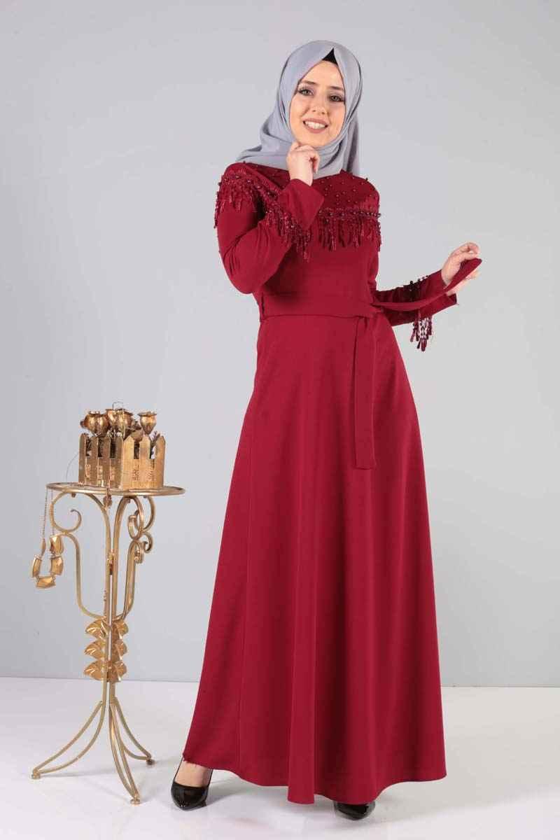 Tesettür Dünyası Bordo Renk Elbise Modelleri