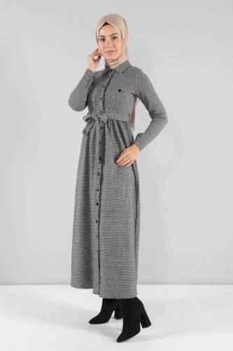 Tesettür Dünyası Kazayağı Desenli Şık Elbise Modelleri
