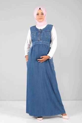 Tesettür Dünyası Kot Hamile Elbise Modelleri