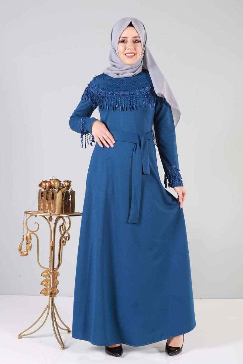 Tesettür Dünyası Püsküllü Abiye Elbise Modelleri