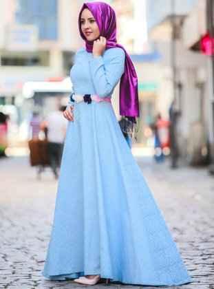 Tesettür Mavi Söz Elbisesi Modelleri