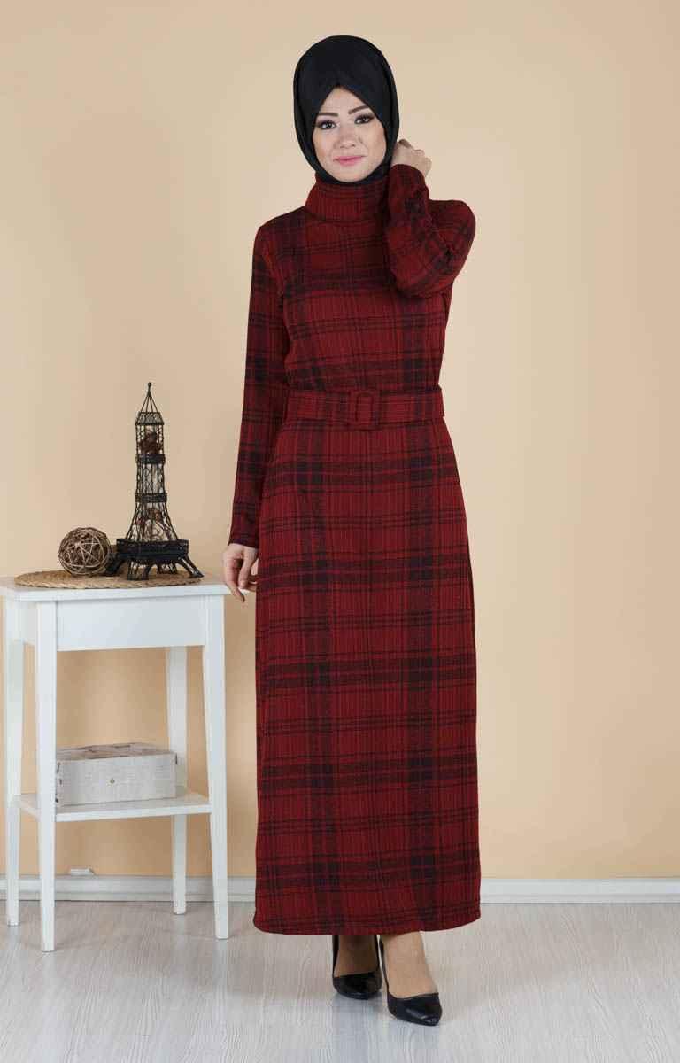 Tesettür Pazarı Ekose Elbise Modelleri