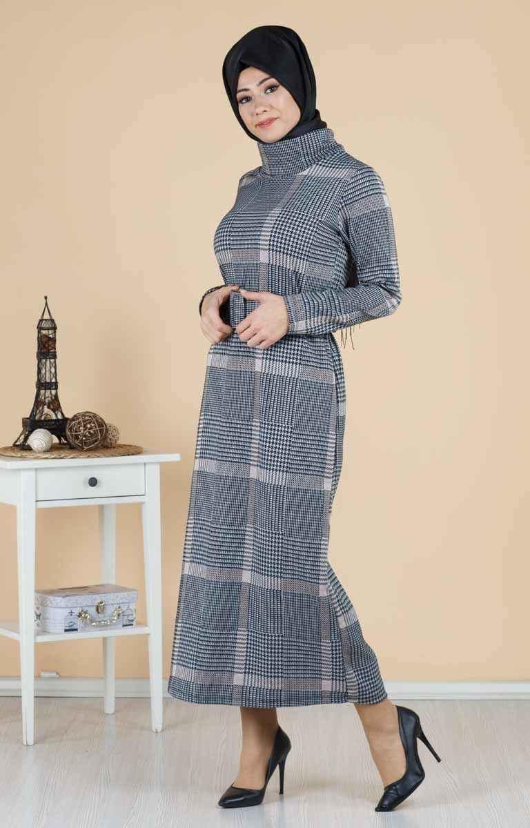 Tesettür Pazarı Kemerli Ekose Elbise Modelleri