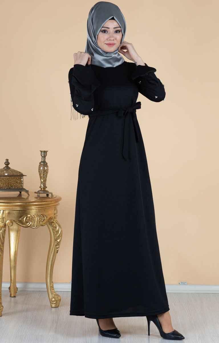 Tesettür Pazarı Kolları Taşlı Elbise Modelleri