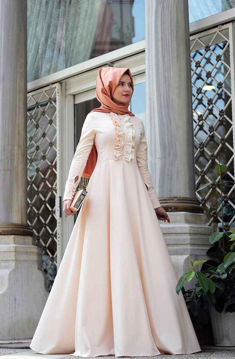 Tesettür Pudra Renk Söz Elbisesi Modelleri