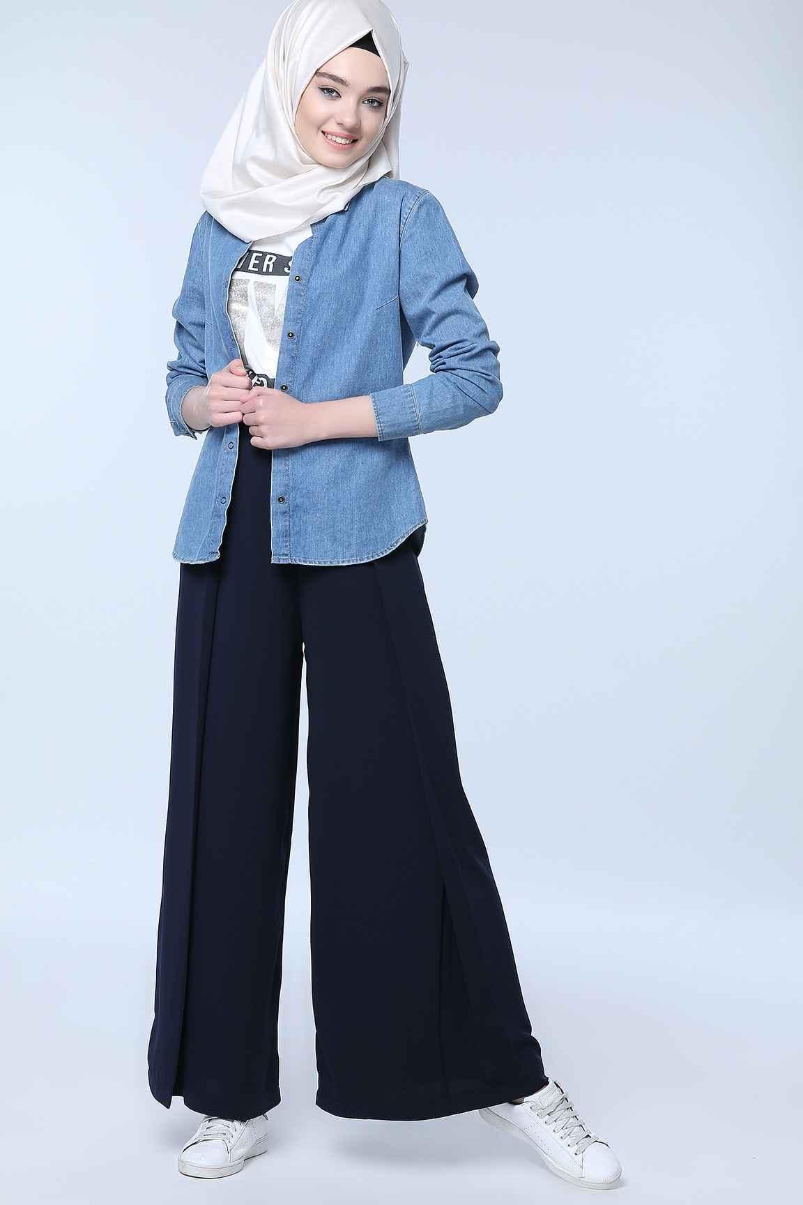 Tozlu Yüksek Bel Tesettür Pantolon Modelleri