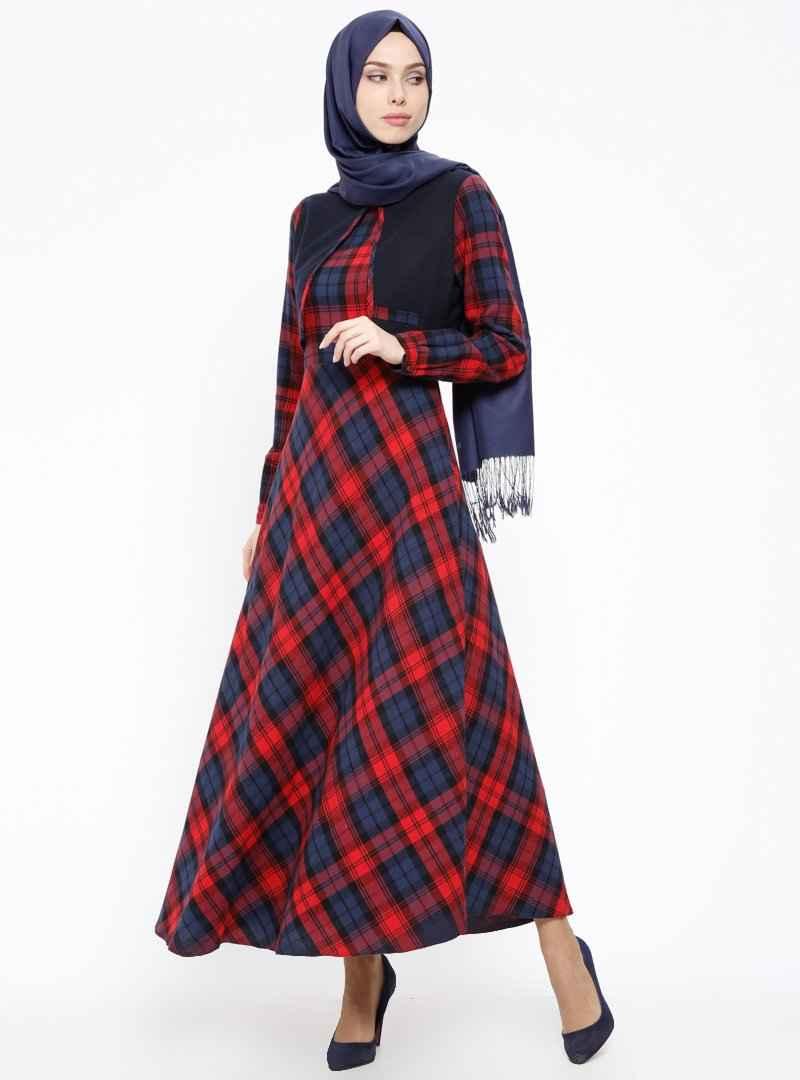 Tuğba Tesettür Ekose Elbise Modelleri