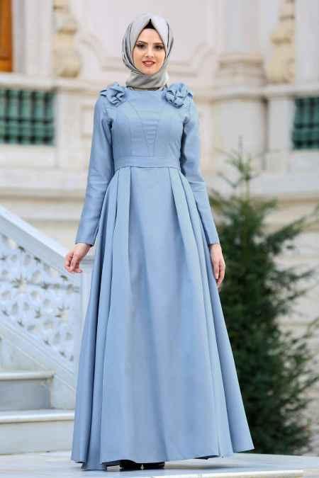 Tuay Omuz Büzgülü Tesettür Söz Elbisesi Modelleri