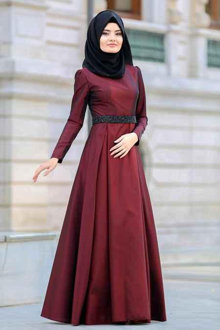 Tuay Tesettür Bordo Renk Abiye Elbise ModelleriTuay Tesettür Bordo Renk Abiye Elbise Modelleri