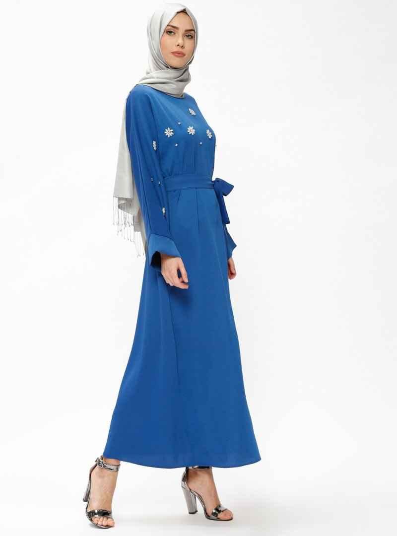 Tuncay Saks Tesettür Taşlı Elbise Modelleri