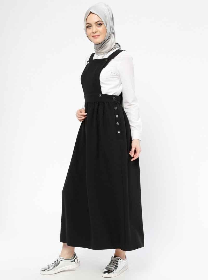 Veteks Line Tesettür Siyah Salopet Elbise Modelleri